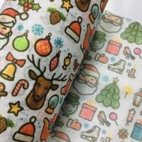 圣诞节系列卡通水刺布麋鹿圣诞老人图案儿童口罩用布