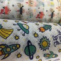 印花水刺无纺布热转印彩色卡通印花儿童一次性口罩布