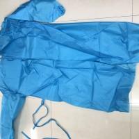 蓝色隔离衣:涤塔夫面料+覆膜,橡筋袖口